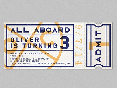 All Aboard design type card invitation birthday kid kids birthday train train ticket ticket