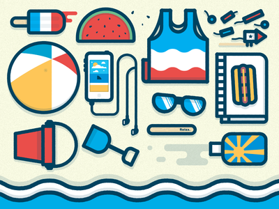 (•_•)    ( •_•)>⌐□-□    (⌐□_□) bruce learn beach summer e-learning elearning articulate illustration design