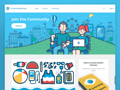 E-Learning Heroes community heroes learn explore e-learning elearning articulate illustration design