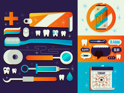 Philly Mag editorial spot illustration dentist icons design illustration