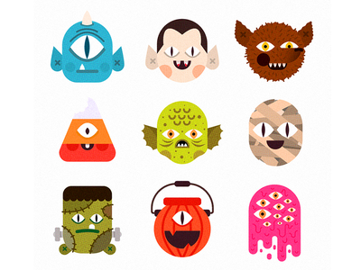 M👁NSTERS characters halloween monsters design illustration