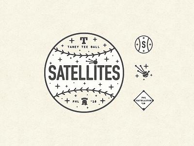 ✨ philadelphia philly satellite space ball typography type tee ball baseball illustration design