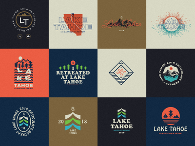 🌲⛵️☀️🏔🌲 badge retro tahoe heritage retreat logo typography type illustration design