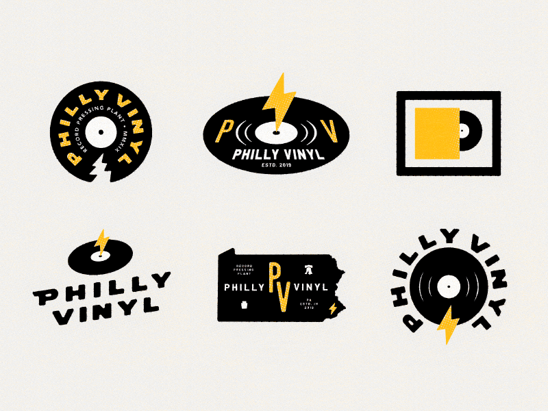 ⚡️⚡️⚡️⚡️⚡️⚡️ wip record vinyl philly music badge branding philadelphia logo typography type illustration design