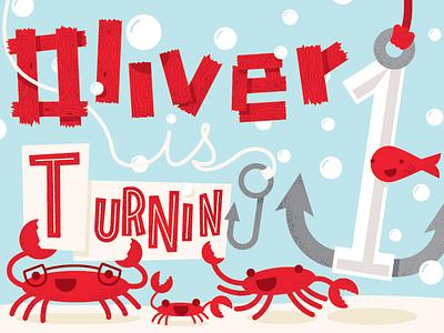 Oliver is Turning 1 design illustration underwater birthday kids card birthday card sea