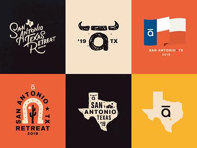 🌵🌵🌵🌵🌵☀️🌵🌵🌵🌵🌵 logo texas the basement of the alamo articulate retreat badge branding elearning typography type illustration design