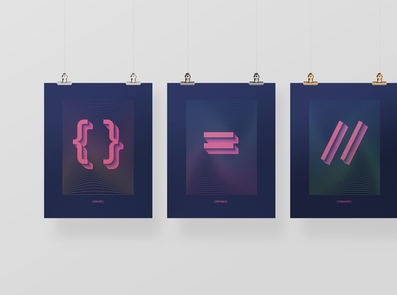 Ed Farm Classroom Posters vaporwave brutalism swift screenprint poster pink peach grafik app gradient education coding classroom brackets programming technology tech branding brand activation apple