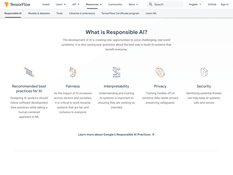 TensorFlow Responsible AI machine learning ui web icon