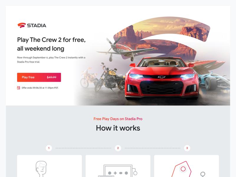 Free Play Days on Stadia Pro: The Crew 2 hero landing page ui design gaming web ui