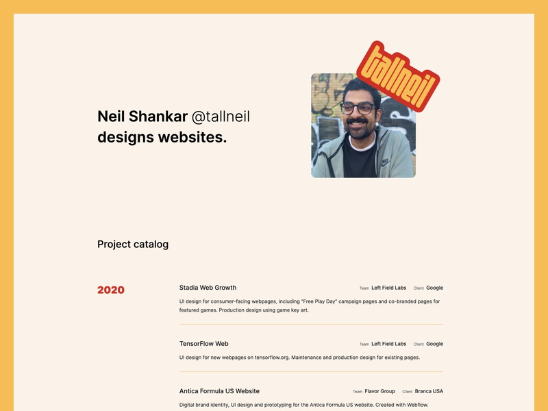 New personal website portfolio logo web ui