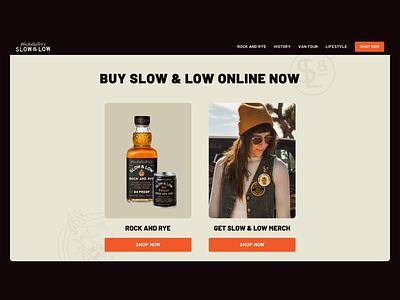 Slow & Low Website alcohol web ui