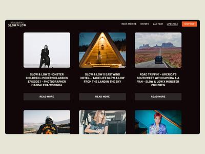 Slow & Low Website alcohol marketing web ui