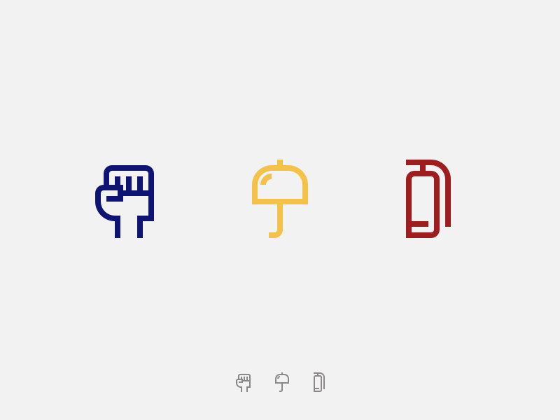 Protest Icons challenge interview march fight fire extinguisher fire umbrella resist hand fist protest icons