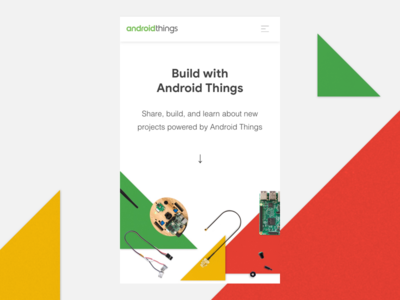 Android Things — Mobile Landing/Hero hero landing robotics arrow arduino maker yellow red geometric android web mobile