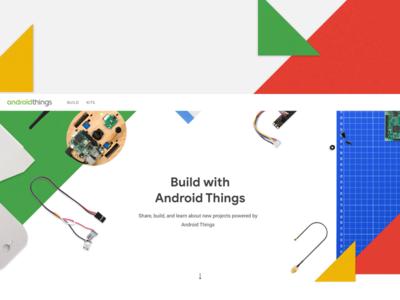 Android Things — Desktop Landing/Hero hero landing web android geometric red green maker arduino arrow robotics