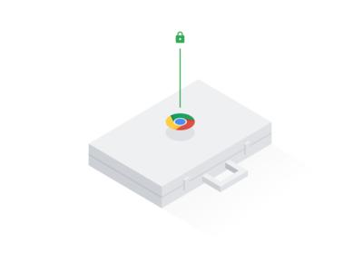 Chrome Security — Illustration security lock work suitcase briefcase minimalist google isometric illustration illustrator