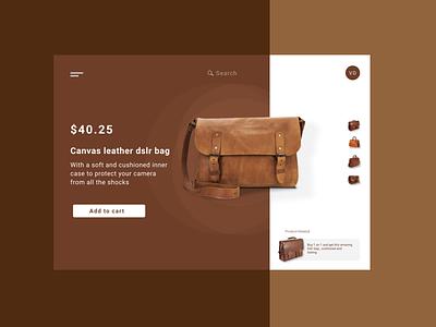 Leather Bag - Product Page graphic design website typography illustration web ux ui branding design art