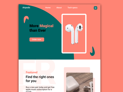 Product Landing Page - AirPods animation website app graphic design typography ux ui illustration design art