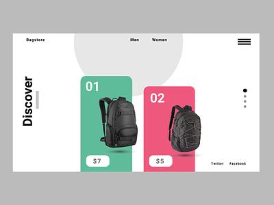 BagStore - Landing Page app website graphic design animation typography ux ui illustration design art