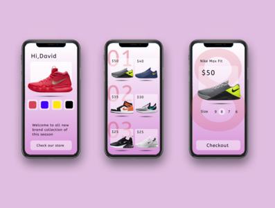 Online Shoe Store - App brand app graphic design animation typography ux ui illustration design art