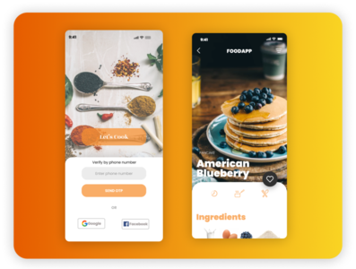 Cooking app UI android app template ui design basic design cooking app ui