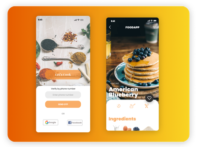 Cooking app UI android app template ui design basic design cooking app ui