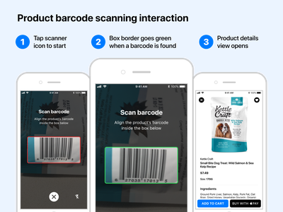 Product barcode scanning interaction ios mobile app design