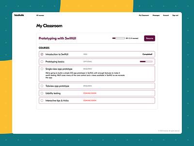 Koukula online learning student's courses wipe ux webdesign wip