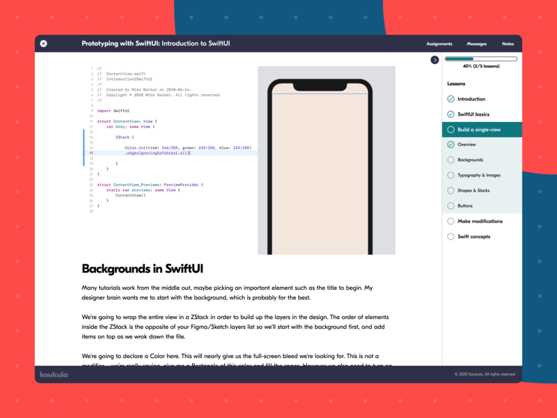 Koukula online learning classroom lesson ux webdesign wip