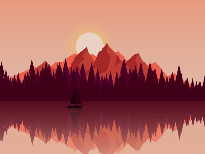 Lake travel minimalist flat landscape illustration vector illustration vector landscape minimal illustration design