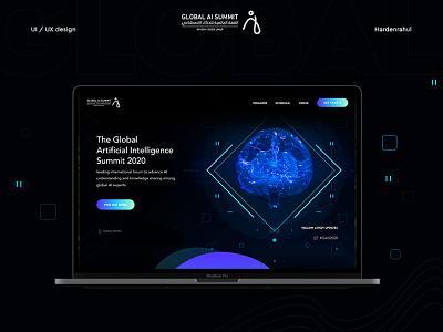 Global AI Summit :: Artificial intelligence Website Design ui ux hardenrahul landing page ui design artificial intelligence