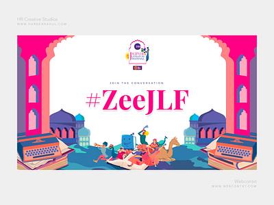 ZeeJLF 2019 hashtag wall design pink color creative hashtag wall social wall jlf