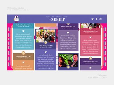 ZeeJLF 2019 Social wall design twitter wall pink color creative hashtag wall social wall jlf