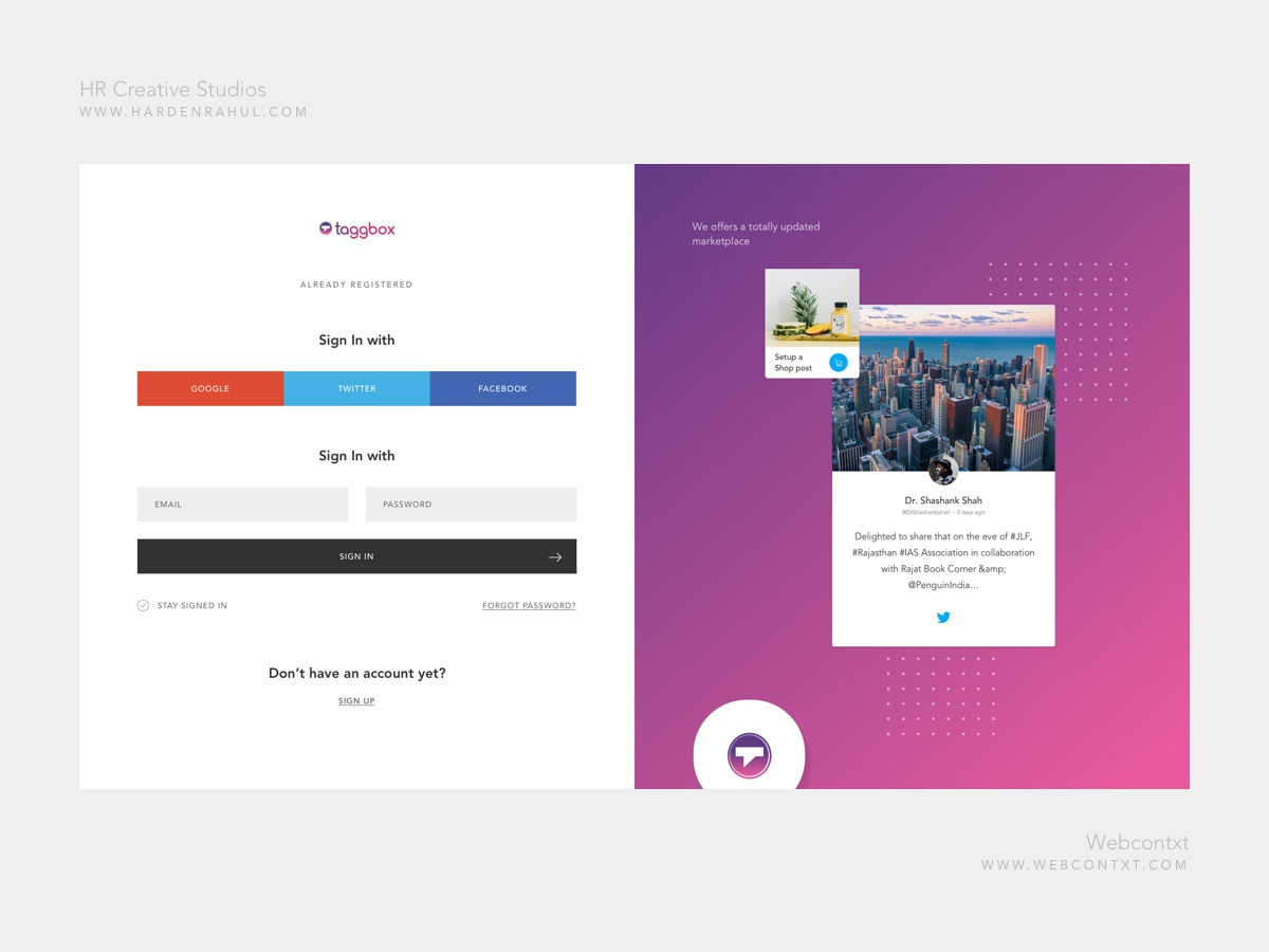 Login and Sign up screen by Rahul Sahu on Dribbble