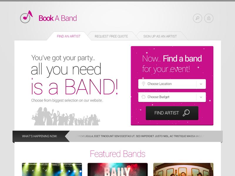 Band Booking Website band book booking website profile artist music portal shop