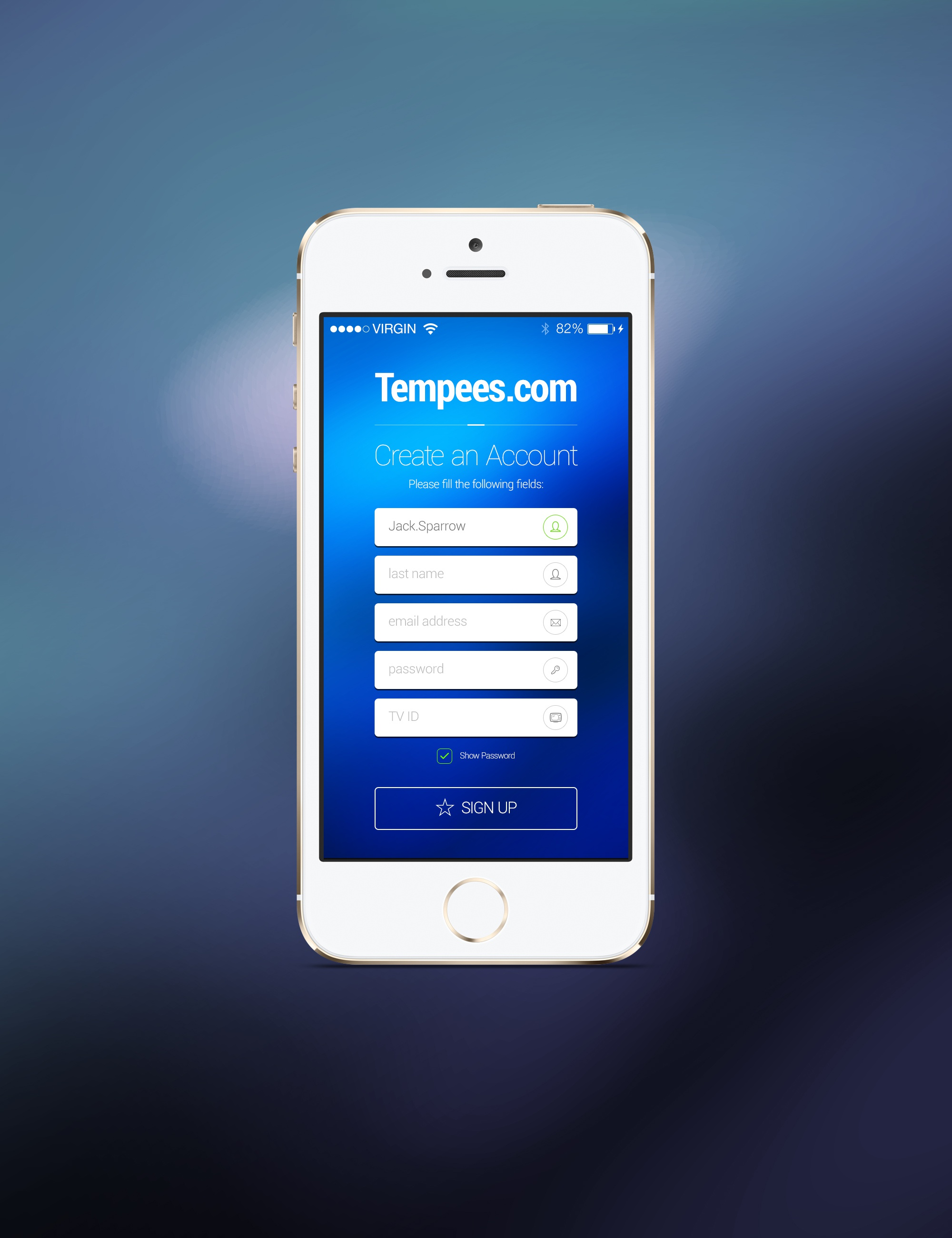 Signup form screen