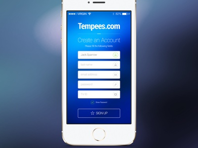 Freebie: iOS Sign Up Screen ios sign up screen input checkbox button account create free psd