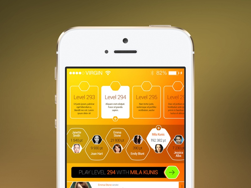 Freebie: Game Screen game ios screen play level user chat button player free psd