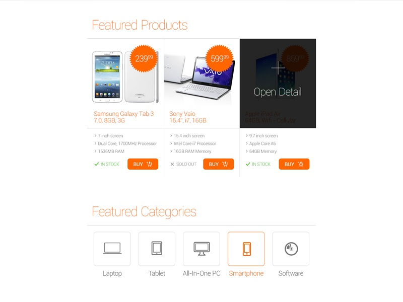 Freebie: Featured Products featured product category eshop ecommerce detail listing hover button free psd