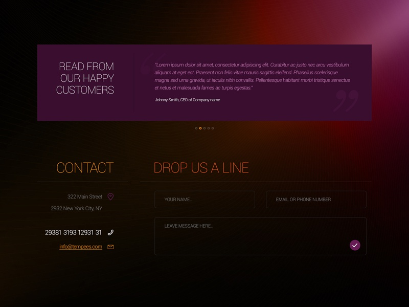 Freebie: Footer Form and Testimonials form footer testimonials contact input address mail phone free psd