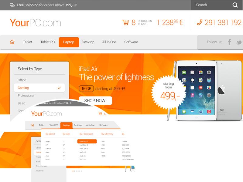 Freebie: Computer Eshop Header header eshop computer electronics cart search product mega menu free psd