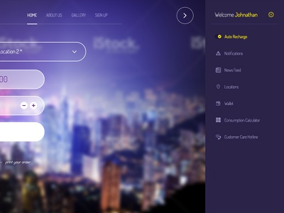 Freebie: Website Header with Rollout Menu header rollout menu form input dropdown buttons icons free psd