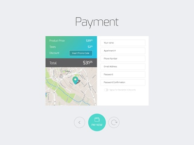 Freebie: Payment Input Form payment input form buttons discount switch map pin free psd
