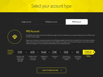Freebie: Website Pricing Tabs price tab navigation web description account button free psd