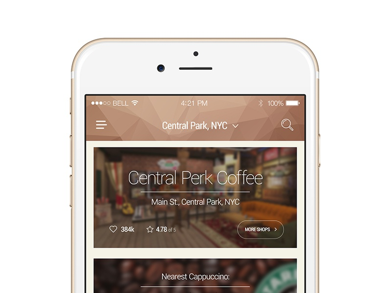 Freebie: Coffeeshop Listing App coffee shop app list top rank area search free psd