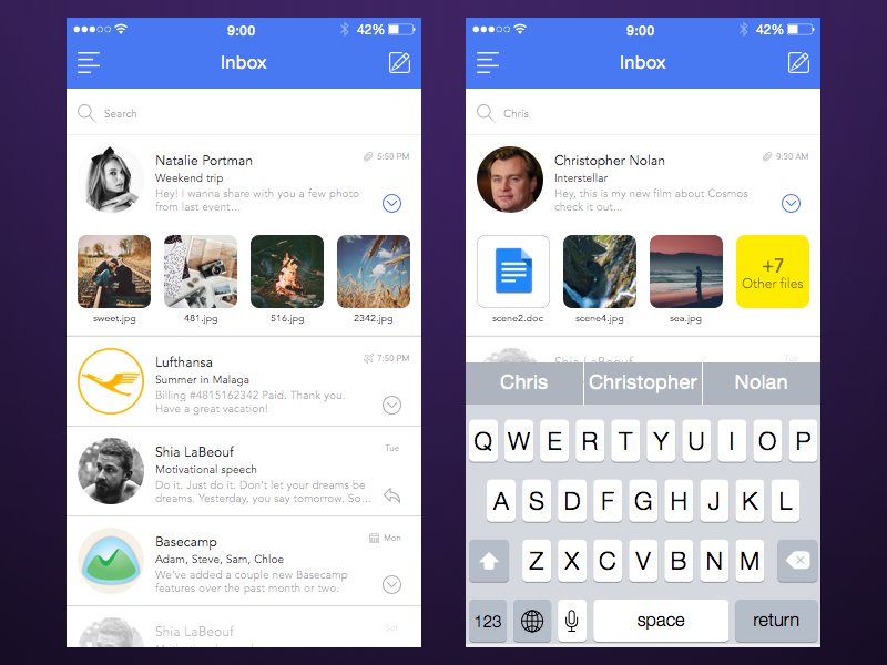 Mail App [Inbox+Search]  kazakhstan competition ios9 mobile white modern mail iphone clean ios app ui