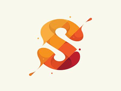 S red orange s spill liquid water slash splash flat design flat illustration branding illustration