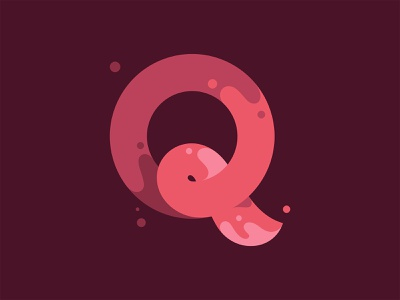 Q red spill liquid water slash splash flat design flat illustration logo typography branding illustration