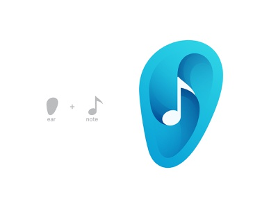 ear + note logo design branding
