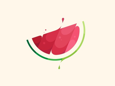 Watermelon flat illustration identity symbol mark brand logo design logo designer logo water fresh fruit watermelon icon design branding vector illustration